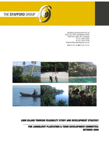 Lihir Island Tourism Feasibility Study & Development Strategy for Londolovit Plantation & Town Development Committee: October 2009