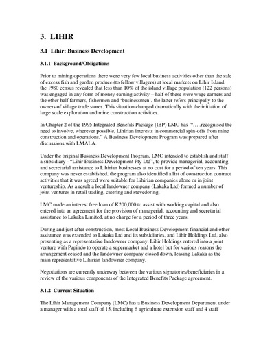 Working paper 3 Business development