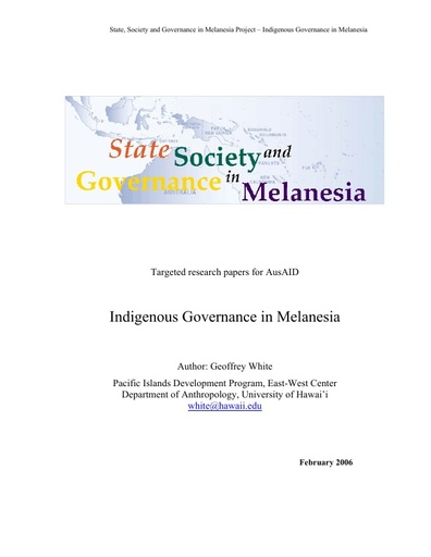 SSGM Indigenous Customary Governance Research Paper 06
