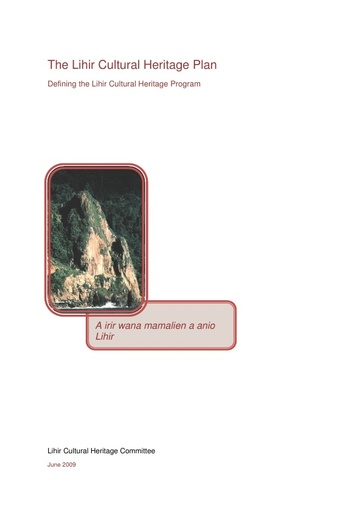 Lihir Cultural Heritage Plan 15June09 Final